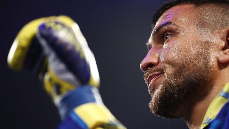 Vasiliy Lomachenko looks on before his fight against Jorge Linares during their WBA lightweight title fight at Madison Square Garden on May 12, 2018 in New York City.