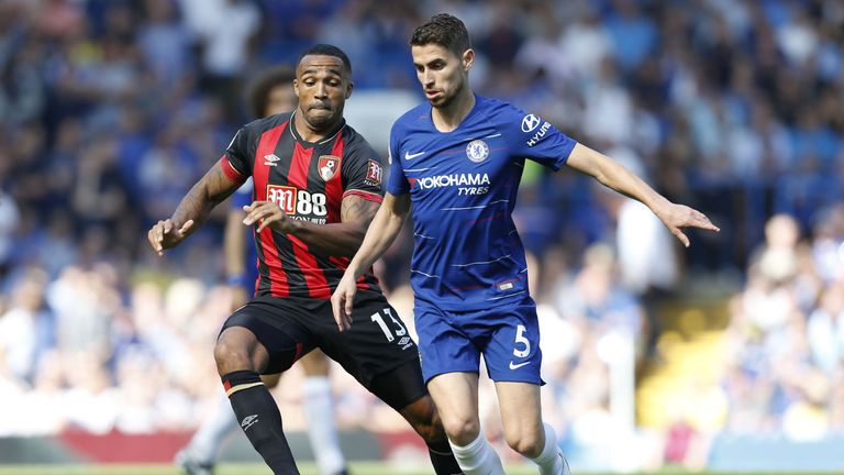 Callum Wilson and Jorginho in action at Stamford Bridge in the teams' first league meeting this season
