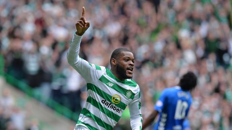 Olivier Ntcham of Celtic celebrates after scoring his team's first goal during the Scottish Premier League match between Celtic and Rangers at Celtic Park Stadium on September 2, 2018 in Glasgow, Scotland.