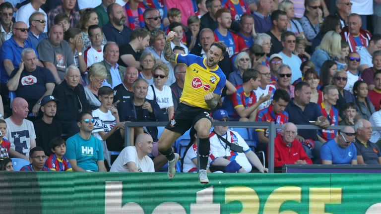 Danny Ings celebrates his goal at Selhurst Park