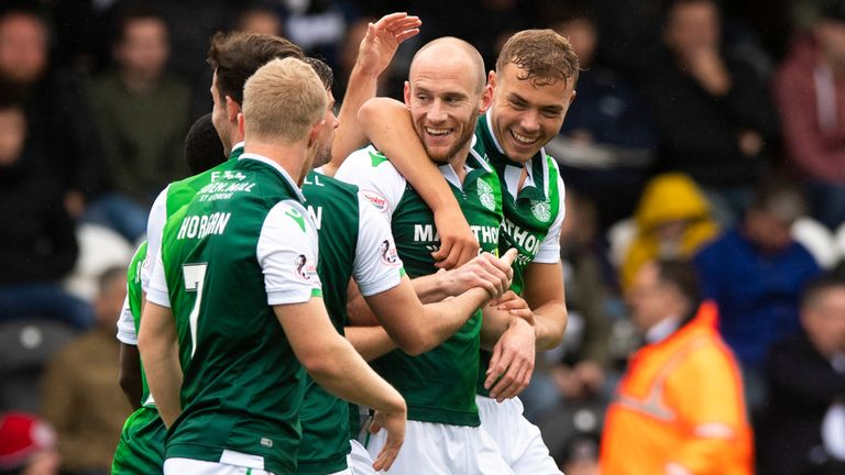 David Gray celebrates after opening the scoring for Hibernian against St Mirren last weekend