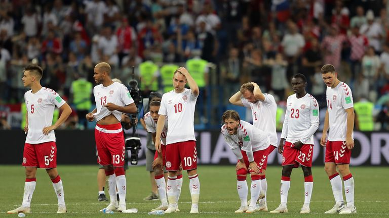 Denmark players during the 2018 World Cup