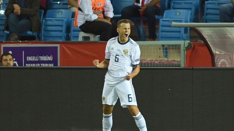 Denis Cheychev continued his good international form with Russia's opener