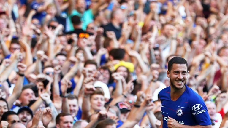 Eden Hazard celebrates his second-half goal