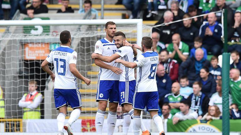 Elvis Saric of Bosnia Herzegovina celebrates after scoring against Northern Ireland