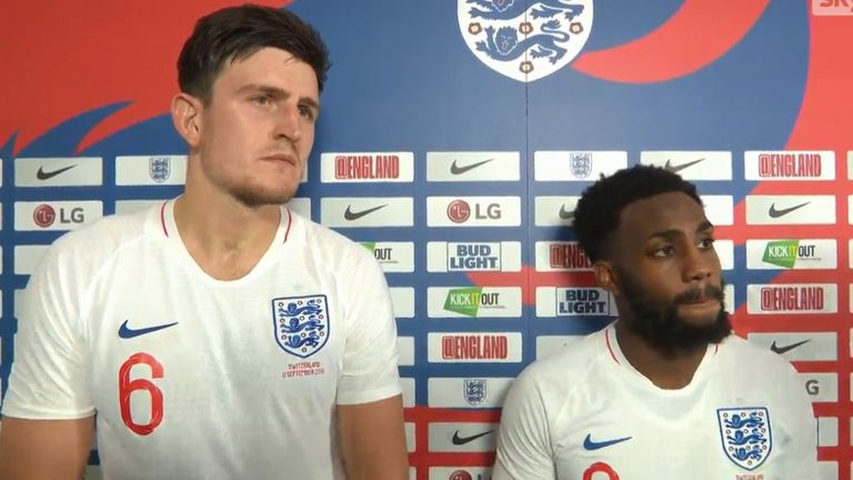 Danny Rose and Harry Maguire give their reaction after England's 1-0 victory over Switzerland at the King Power Stadium.