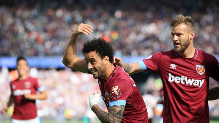 Felipe Anderson celebrates after scoring the opening goal