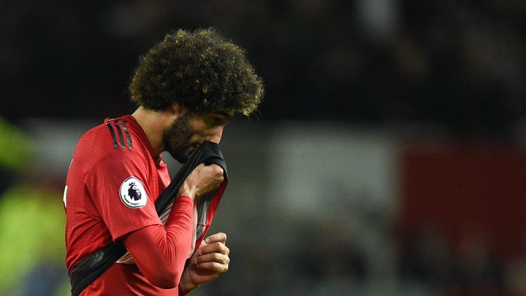 Fellaini feature from the bench in Man Utd's 3-0 defeat at home to Tottenham