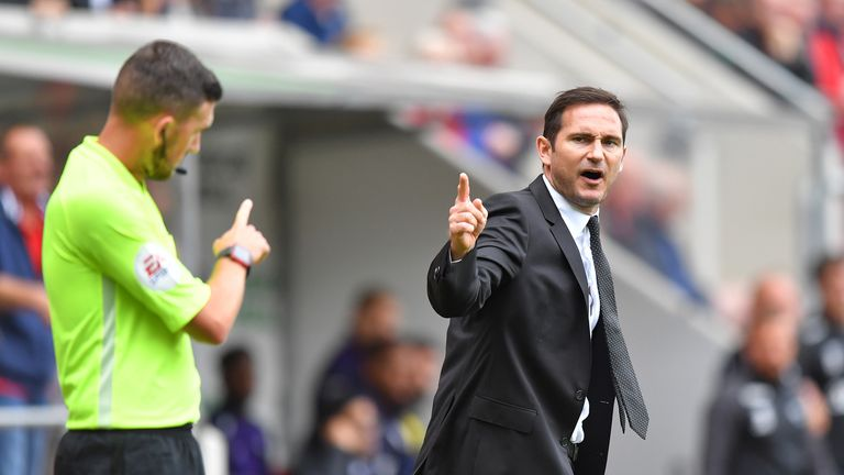 Frank Lampard was sent to the stands after leaving his technical area to complain about a decision