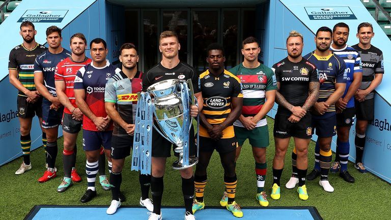The league's club captains pose with the Gallagher Premiership Trophy