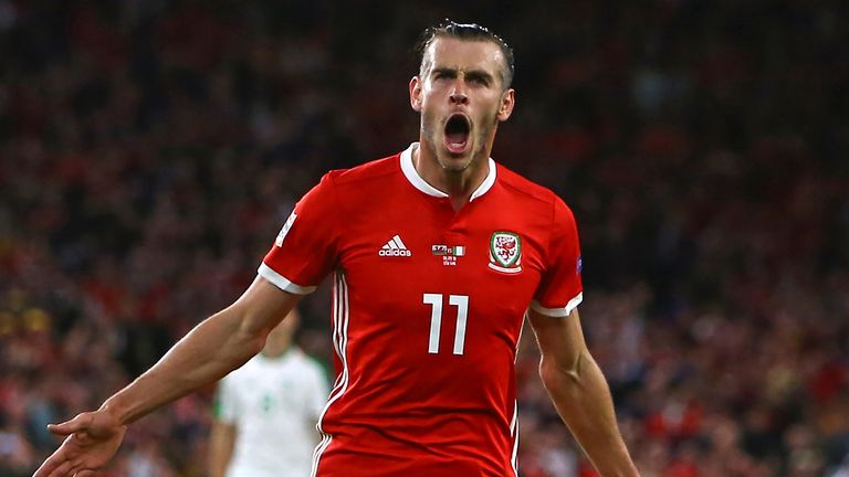 Wales' striker Gareth Bale celebrates after scoring their second goal during the UEFA Nations League football match between Wales and Republic of Ireland at Cardiff City Stadium in Cardiff on September 6, 2018. (Photo by Geoff CADDICK / AFP)        (Photo credit should read GEOFF CADDICK/AFP/Getty Images)