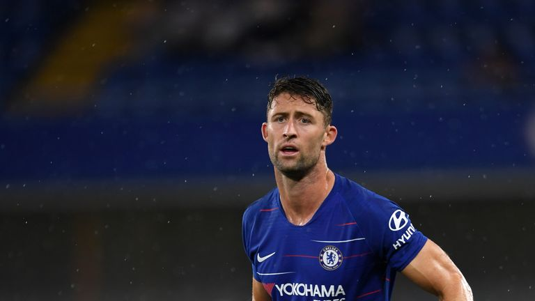 Gary Cahill during the pre-season friendly match between Chelsea and Lyon at Stamford Bridge on August 7, 2018 in London, England.