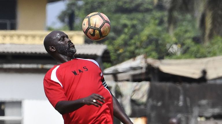 George Weah made a stunning return to action for Liberia at the age of 51