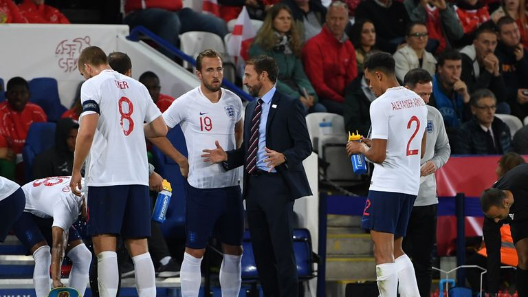 Harry Kane played 29 minutes for England at the King Power Stadium