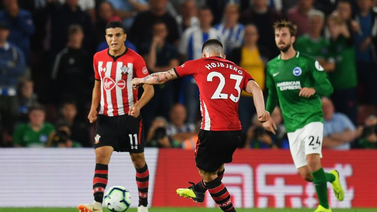 Pierre-Emile Hojbjerg scores during the Premier League match between Southampton and Brighton & Hove Albion at St Mary's Stadium on September 17, 2018 in Southampton.