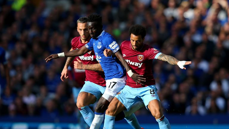 Idrissa Gueye was crowded out by West Ham's new-look three-man midfield