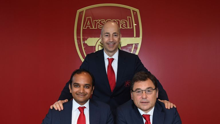 Ivan Gazidis will be replaced by Raul Sanllehi (left) and Vinai Venkatesham (right)