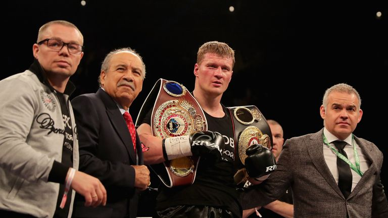 Ivan Kirpa is far left, after Povetkin's most recent win
