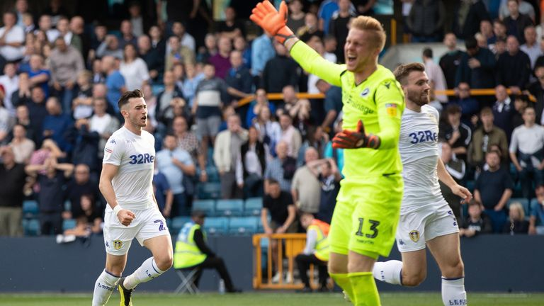 Leeds United's Jack Harrison celebrates scoring against Millwall