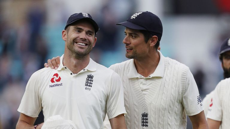 Anderson and Cook were all smiles after England's win at The Oval