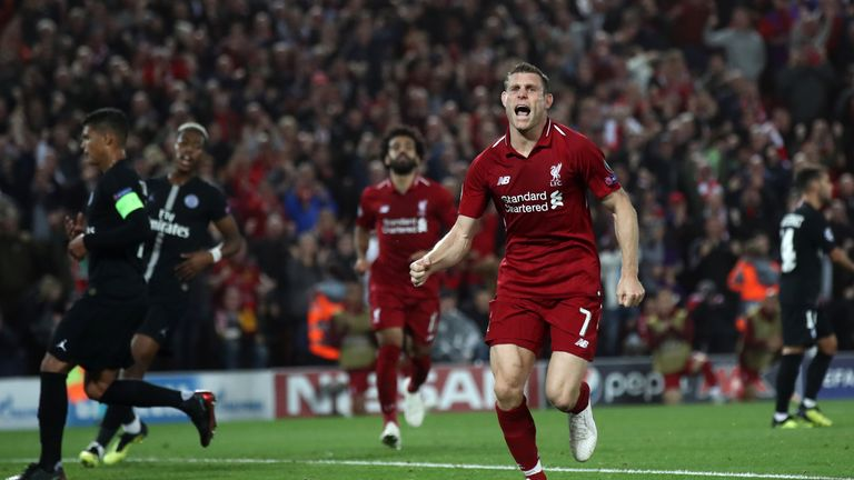 James Milner of Liverpool celebrates after scoring his team's second goal during the Group C match of the UEFA Champions League between Liverpool and Paris Saint-Germain at Anfield on September 18, 2018 in Liverpool, United Kingdom