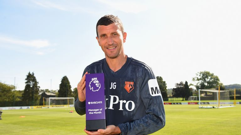 Watford manager Javi Gracia poses with the Barclays 'Manager of the Month' Award for August