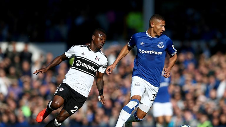 Jean Michael Seri looks to keep pace with Richarlison at Goodison Park