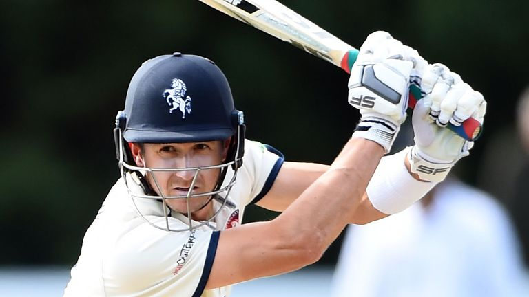 Kent and England's Joe Denly donned his whites to face a delivery in his hallway