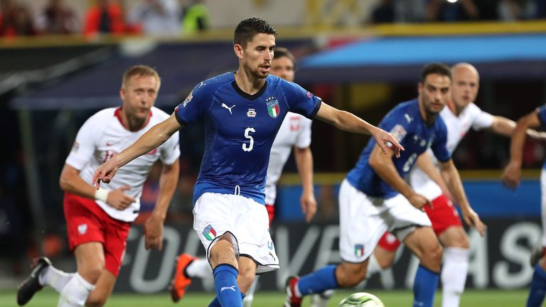 Jorginho's penalty was his first goal for Italy
