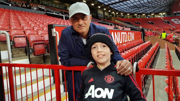Jose Mourinho posed for pictures with 11-year-old Alex Nield (Picture c/o: @famousalexnield)