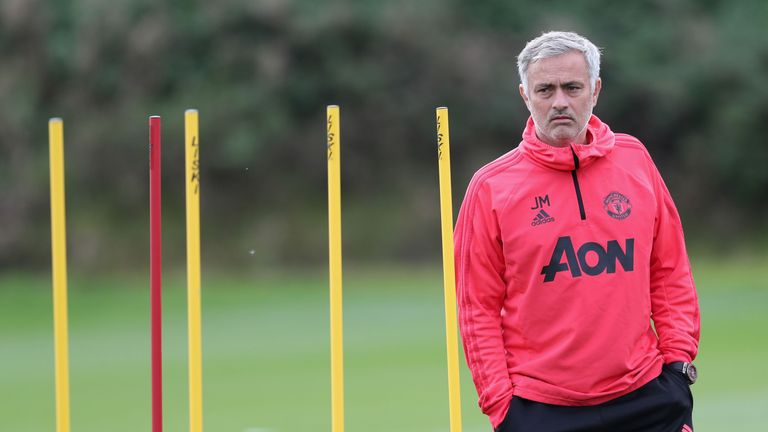 Manchester United manager Jose Mourinho during a first team training session at their Aon Training Complex