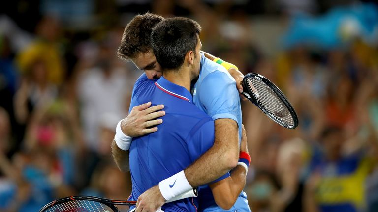 Novak Djokovic (L) hopes to see Juan Martin del Potro back on court following his third knee surgery on Wednesday