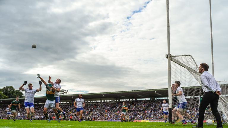 Donaghy knocks the ball down for David Clifford's late goal against Monaghan
