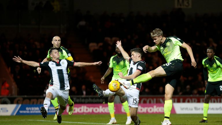 Celtic's Kristoffer Ajer (right) shoots at goal during the clash against St Mirren