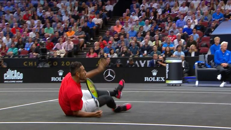 Kyrgios did get the better of Federer by winning this sensational 21-shot rally...