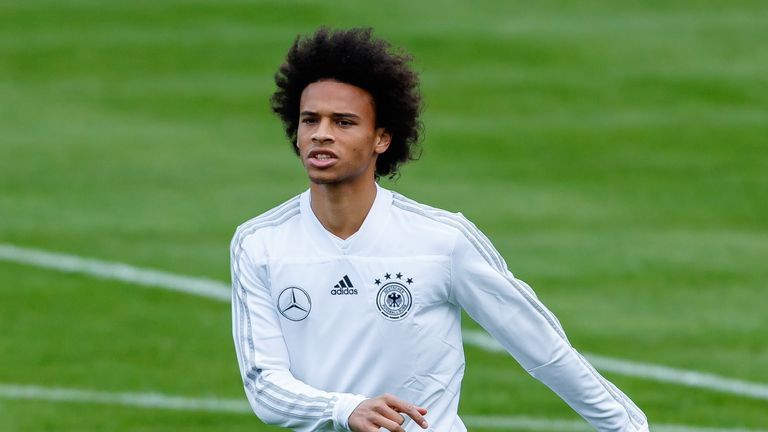 Leroy Sane of Germany looks on during a team Germany training session at Bayern Muenchen Campus on September 3, 2018 in Munich, Germany