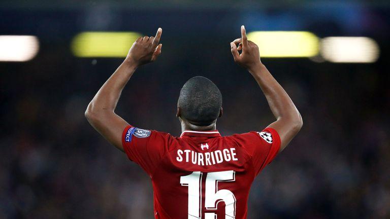 Sturridge celebrates scoring for Liverpool