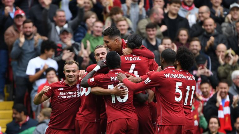 Liverpool celebrate's Joel Matip goal against Southampton