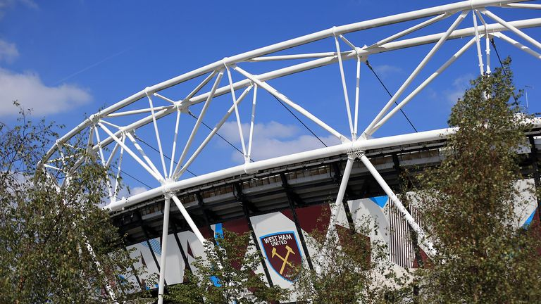 General view outside the stadium prior to the Premier League match between West Ham United and Wolverhampton Wanderers at London Stadium on September 1, 2018 in London, United Kingdom.