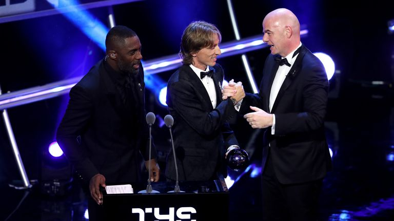 Luka Modric took the award with almost 30 per cent of the vote