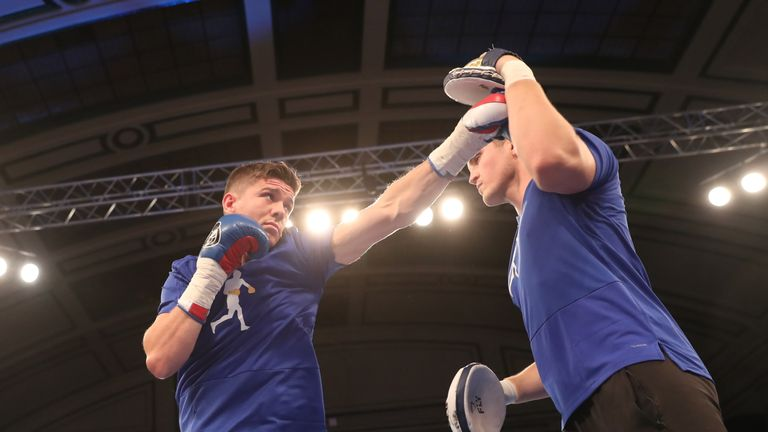 JOSHUA-POVETKIN PROMOTION.OPEN WORK OUTS,.YORK HALL..BETHNAL GREEN,.LONDON.PIC;LAWRENCE LUSTIG.LUKE CAMPBELL.. PERFORMS A PUBLIC WORK OUT AS HE PREPARES FOR HIS FIGHT ON EDDIE HEARNS MATCHROOM PROMOTION AT WEMBLEY STADIUM ON SATURDAY(22-9-18).