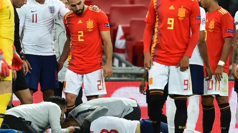 Luke Shaw was treated for several minutes on the pitch after a nasty collision with Dani Carvajal
