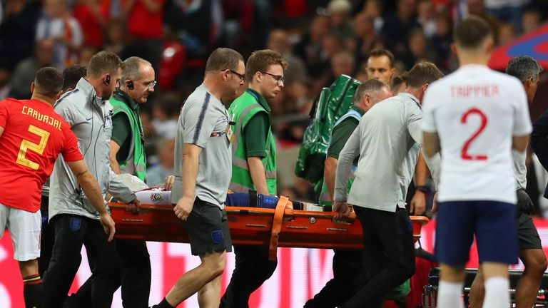 Luke Shaw left the field on a stretcher after several minutes of on-pitch treatment