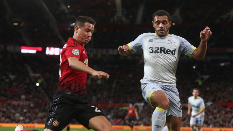 Third Round match between Manchester United and Derby County at Old Trafford on September 25, 2018 in Manchester, England.