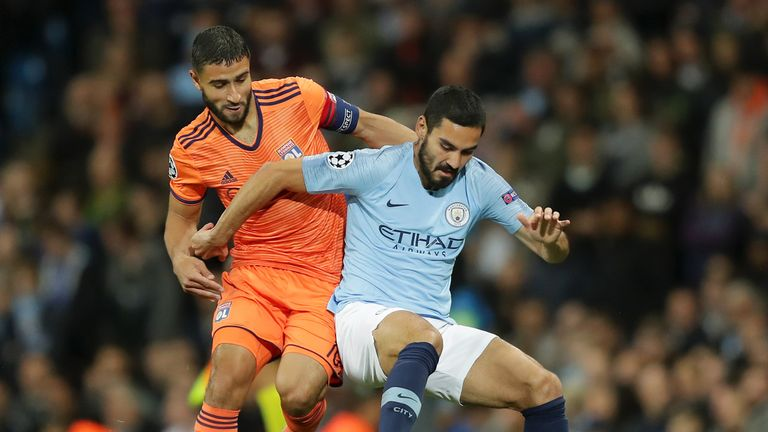 Nabil Fekir and Ilkay Gundogan during the Group F match of the UEFA Champions League between Manchester City and Olympique Lyonnais at Etihad Stadium on September 19, 2018 in Manchester, United Kingdom.