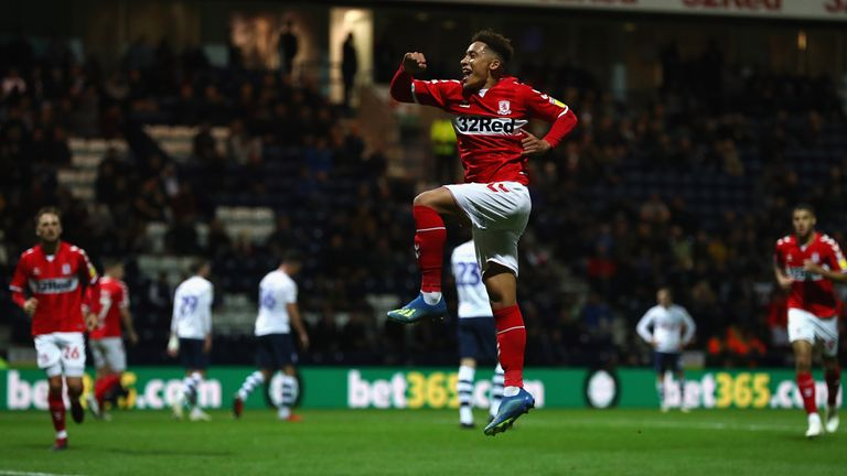 during the Carabao Cup Third Round match between Preston North End and Middlesbrough at Deepdale on September 25, 2018 in Preston, England.