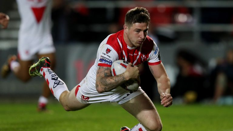 Mark Percival crossing for St Helens on the night