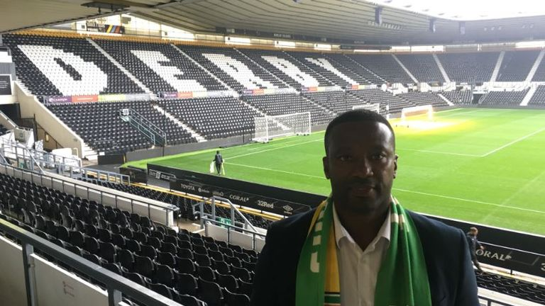 Guyana head coach Michael Johnson is also an ambassador at Derby County