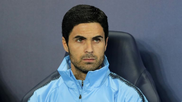 Mikel Arteta, assistant coach of Manchester City looks on prior to the Group F match of the UEFA Champions League between Manchester City and Olympique Lyonnais at Etihad Stadium on September 19, 2018 in Manchester, United Kingdom