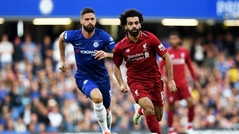 Mohamed Salah and Olivier Giroud in action at Stamford Bridge
